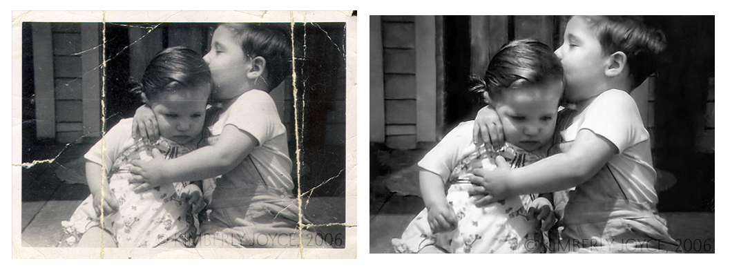 Photo Restoration - Mom and Uncle Ralph